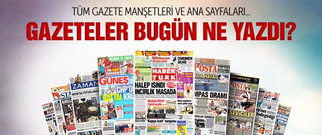 Gazete menşetleri 4 Temmuz 2015