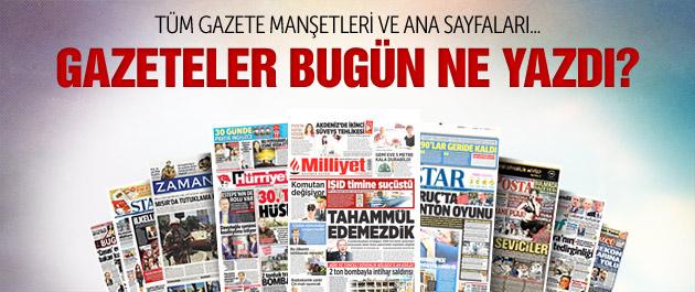 Gazete manşetleri 3 Ağustos 2015