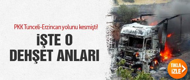 Tunceli-Erzincan yolunu kesen PKK'lıların yeni görüntüleri