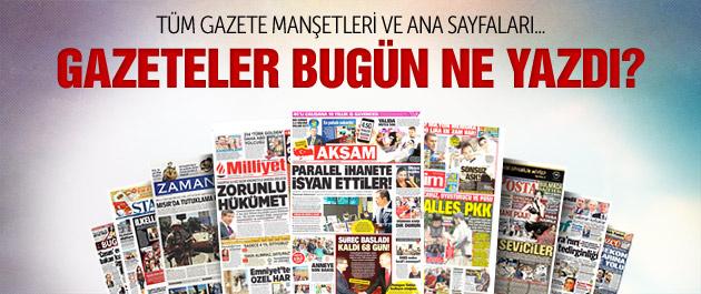 Gazete manşetleri 1 Eylül 2015