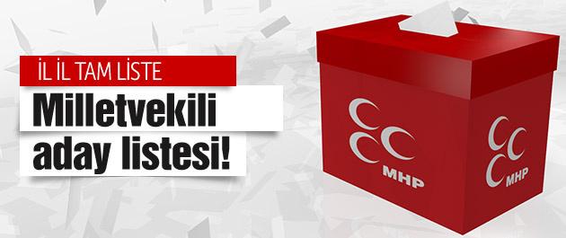 MHP milletvekili aday listesi il il-tam liste!