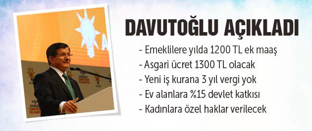 AK Parti Seçim Bildirgesi Davutoğlu'ndan emekli ve asgari ücret müjdesi