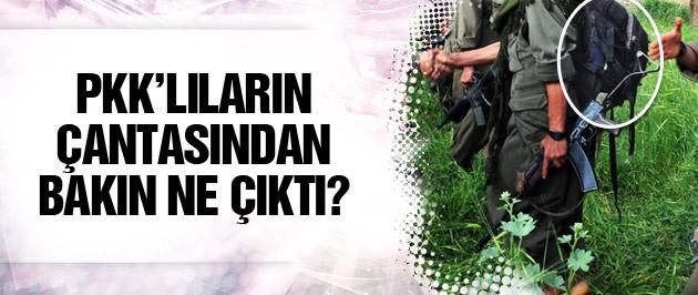 PKK'lıların sırt çantasından bakın ne çıktı?