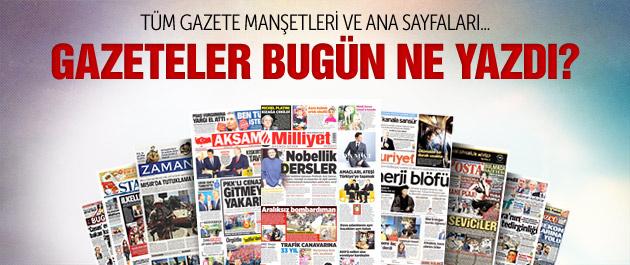 Gazete manşetleri 9 Ekim 2015