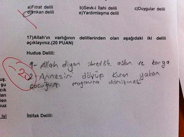 Sınav sorularına güldüren cevaplar