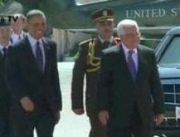 Obama, Ramallah'ta Abbas'la görüşüyor