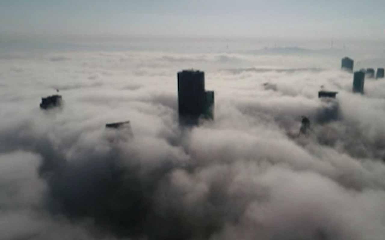 İstanbul'da etkili olan sis drone ile havadan görüntülendi
