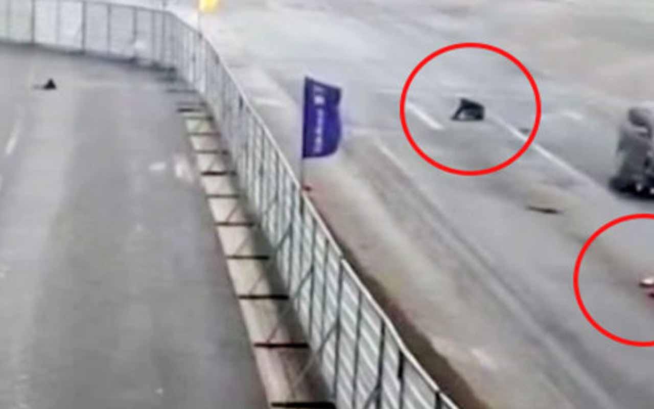 Viraja hızlı giren acemi sürücü böyle kaza yaptı!