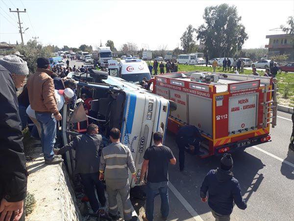 Mersin Silifke'de işçileri taşıyan araç kaza yaptı işte ilk görüntüler