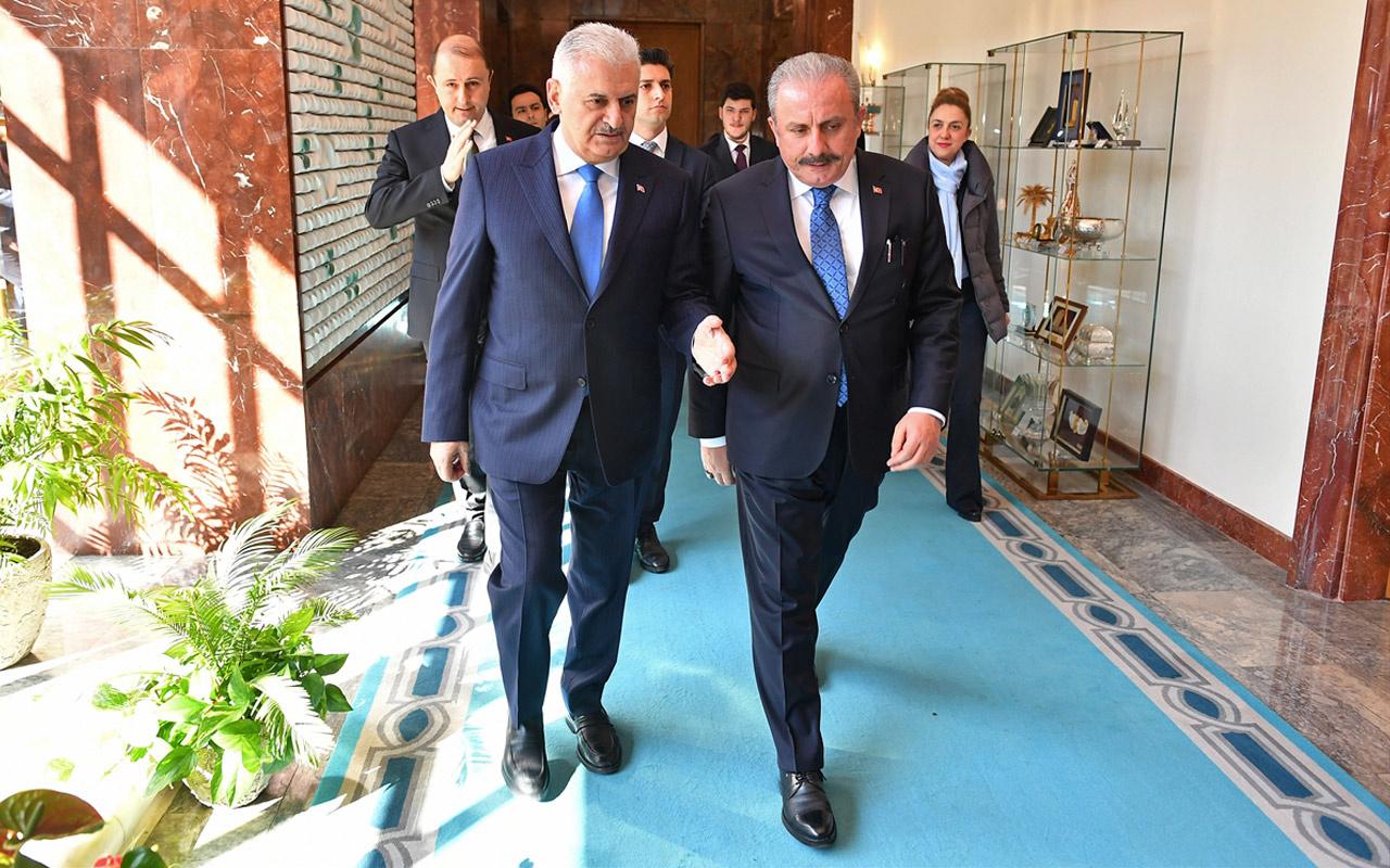 Meclis Başkanı Şentop'un ilk ziyaretçisi Binali Yıldırım oldu