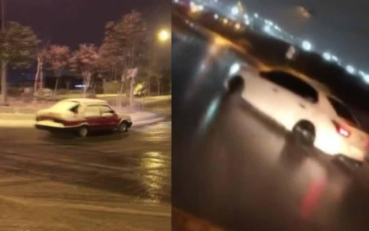 """Kar altında """"drift"""" terörü kamerada"""