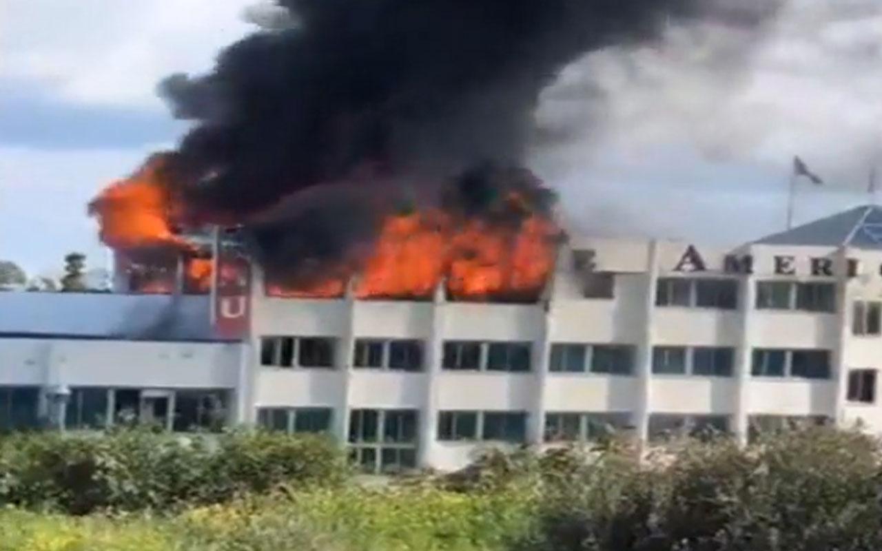 Kıbrıs'ta Girne Amerikan Üniversitesi'nde korkutan yangın!