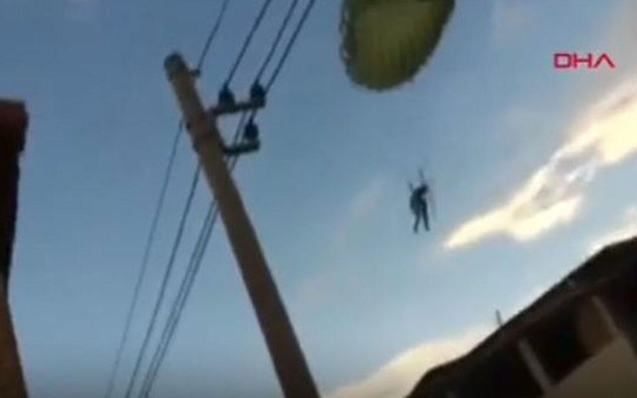 Brezilya'da şiddetli rüzgar paraşütçüleri yerleşim alanına savurdu