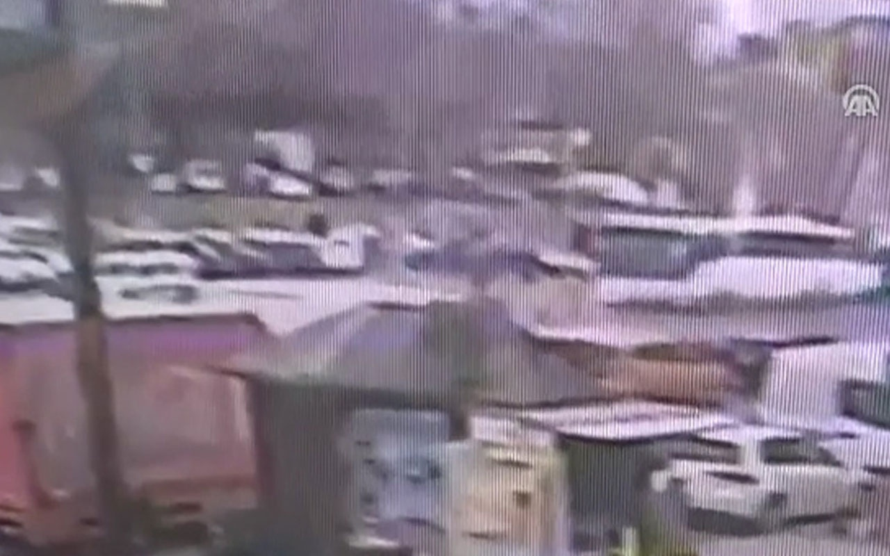 Beyazıt'ta trafik kazası güvenlik kamerası görüntüleri