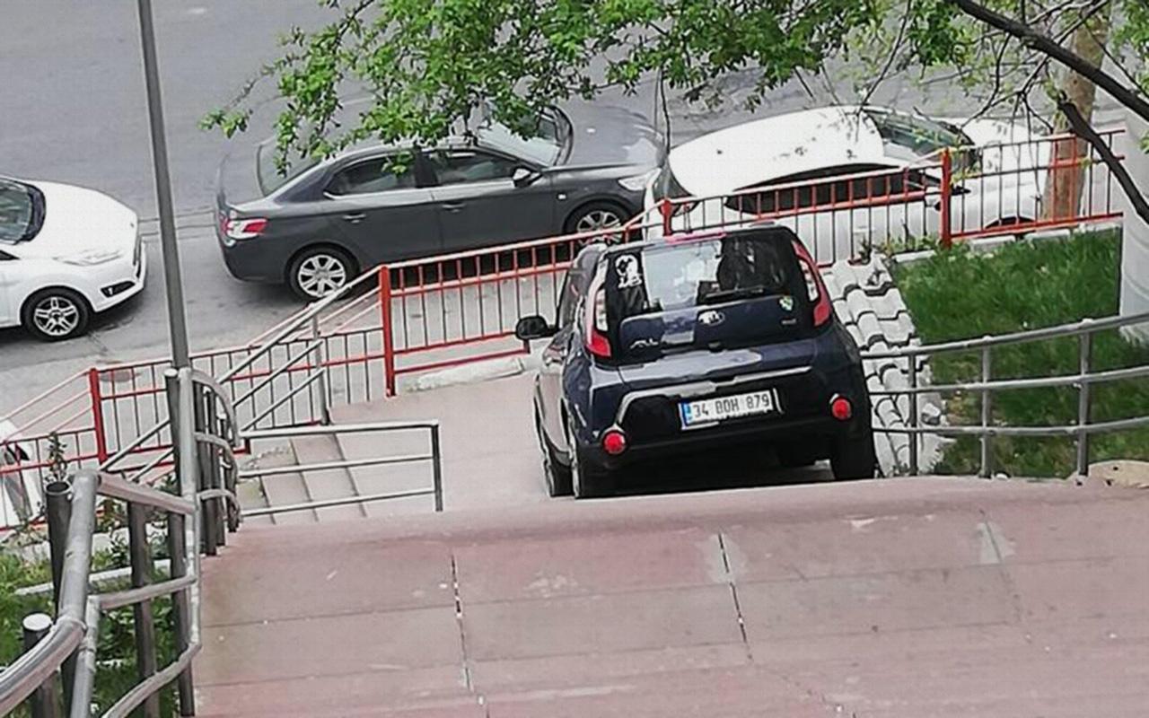 Kağıthane'de ilginç kaza! Merdivenleri yol sanınca...