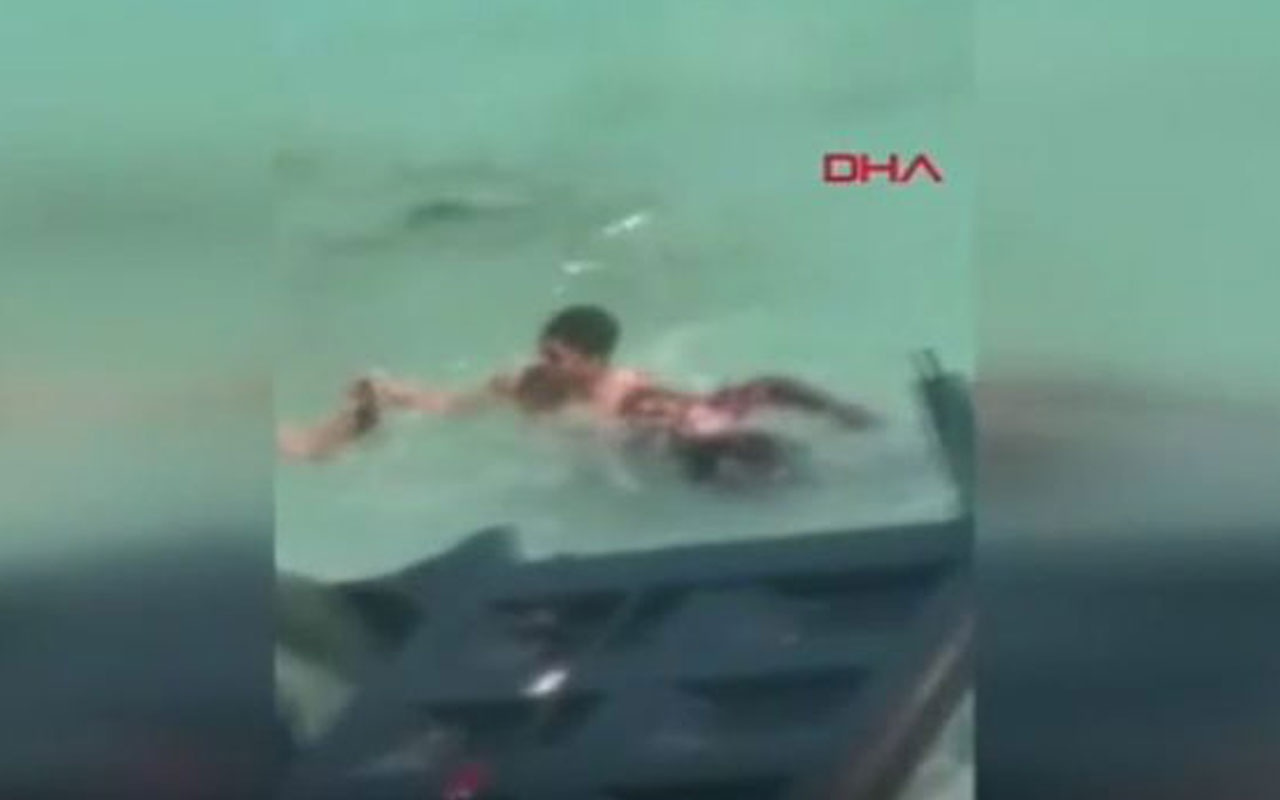Kamyon denize uçtu, sürücü boğulmak üzereyken kurtarıldı