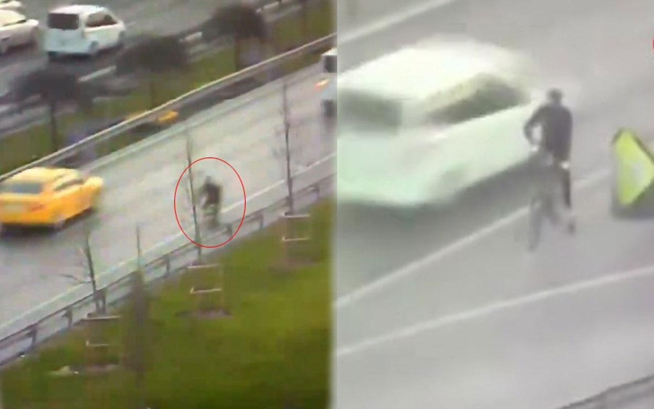Trafikte ters yönde ilerleyen bisiklet sürücüsü kamerada