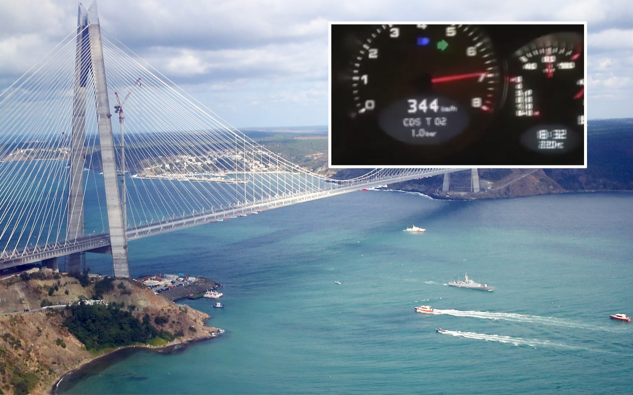 Yavuz Sultan Selim köprüsünden 344 kilometre hızla geçti