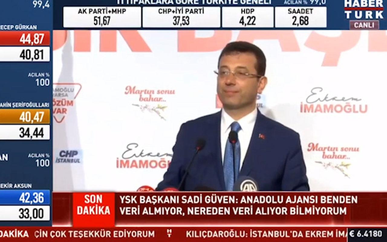 """Ekrem İmamoğlu:"""" Verdiğim sayıları YSK Başkanı da teyit etmiş"""""""