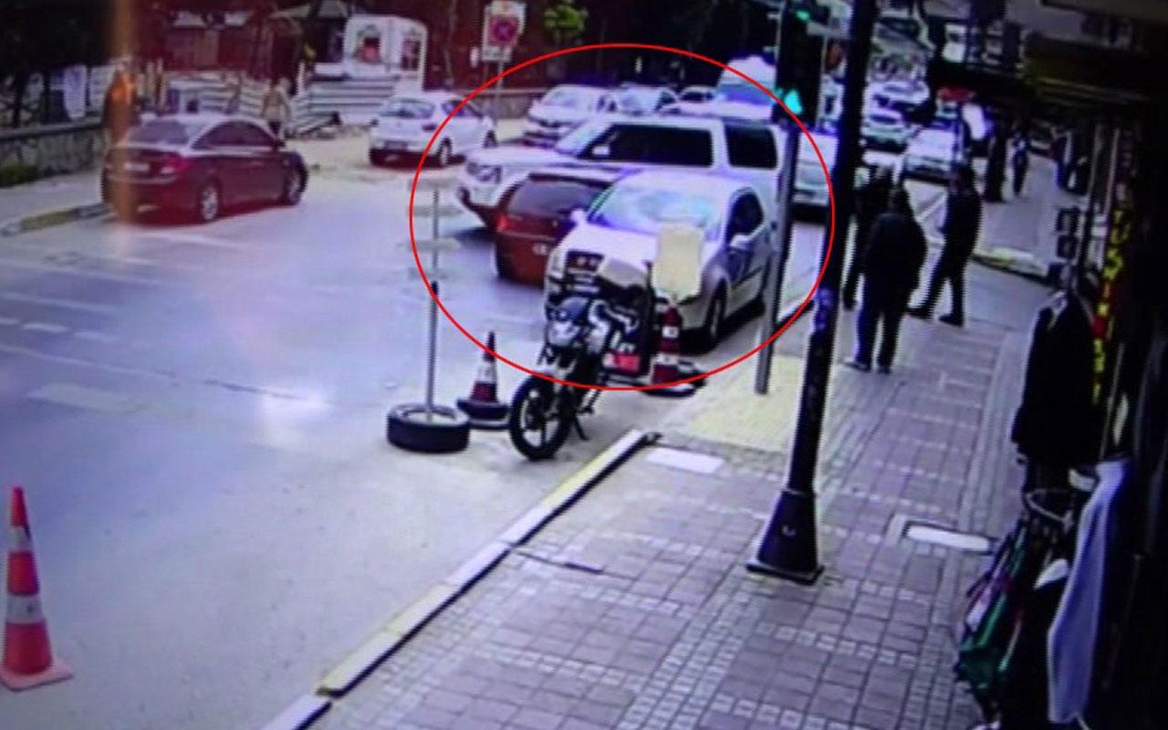 Sokakta aşırı hızlı aracın cipe çarptığı anlar kamerada
