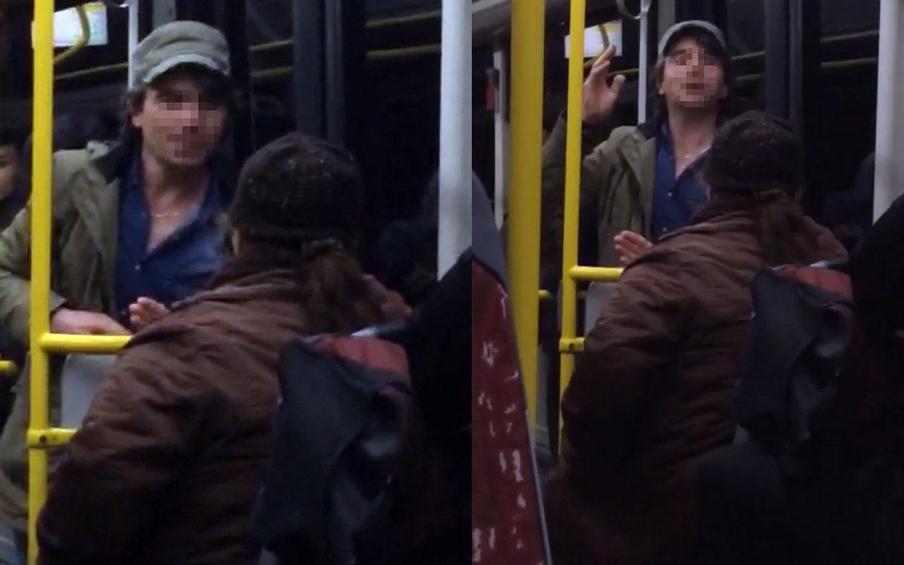Otobüsde gencin yaşlı kadına hakareti kamerada