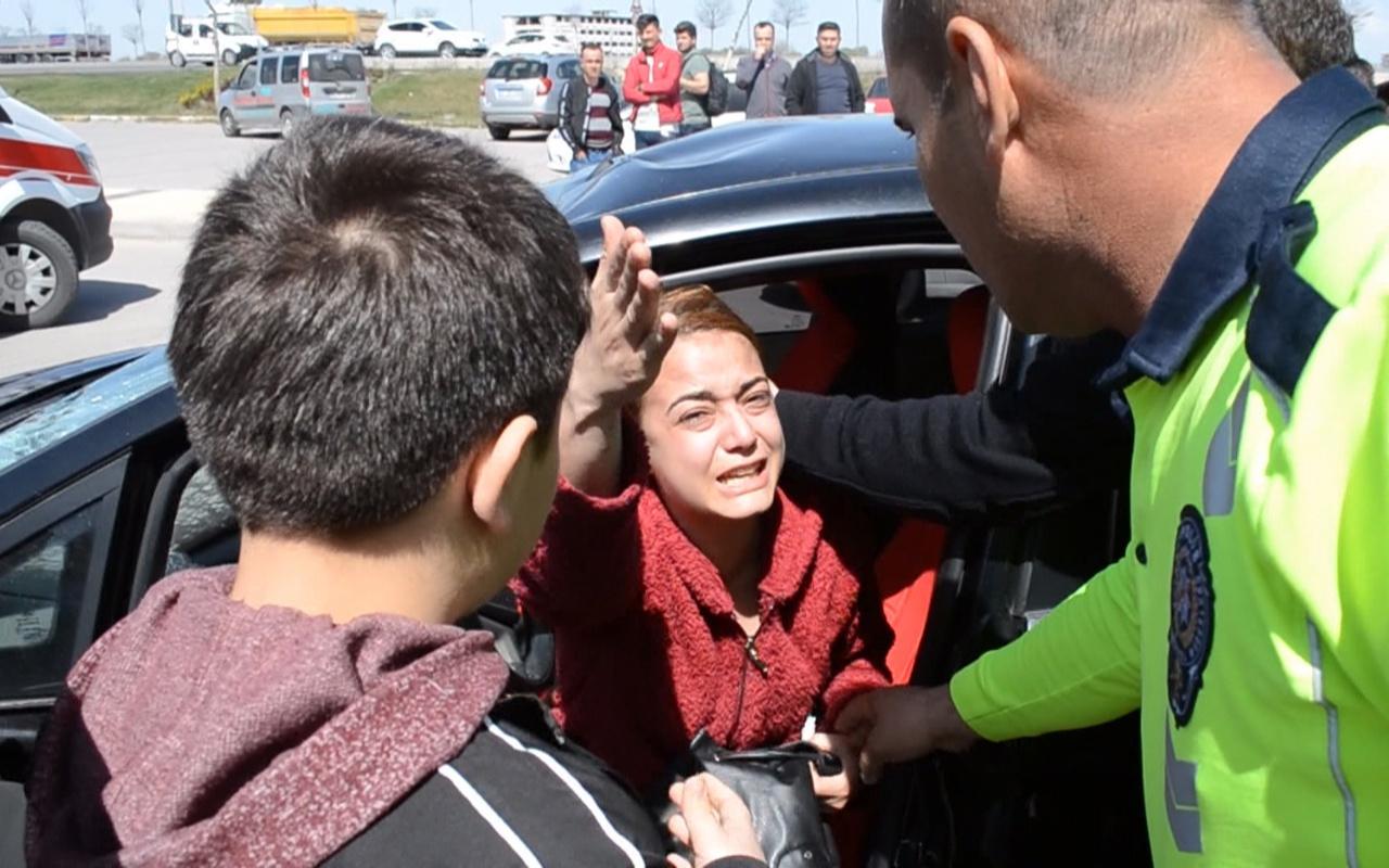 Çarptığı kadın ağır yaralandı sürücü otomobili için gözyaşı döktü