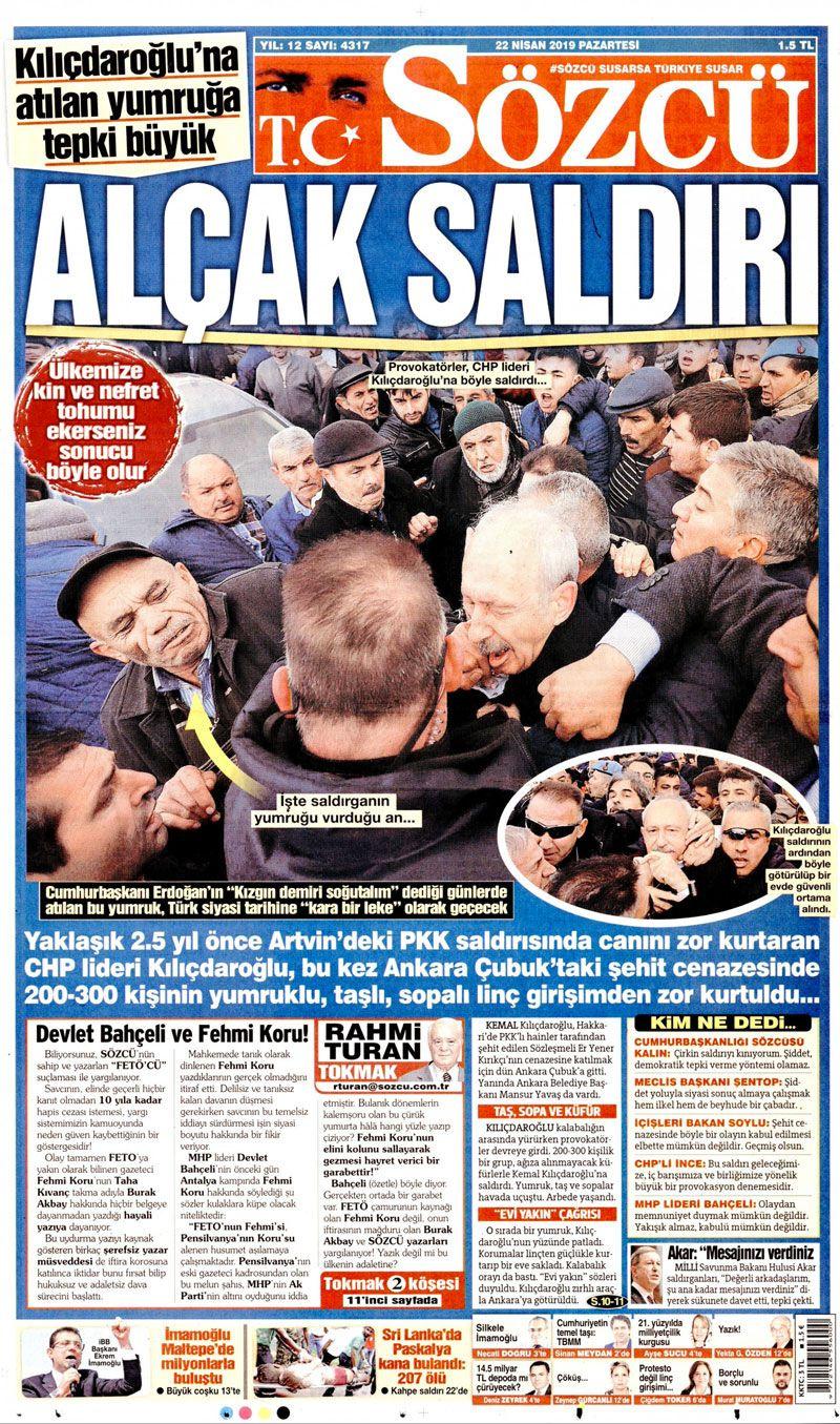 Saldırıya uğrayan Kılıçdaroğlu için hangi gazete ne manşet attı? - Sayfa 1