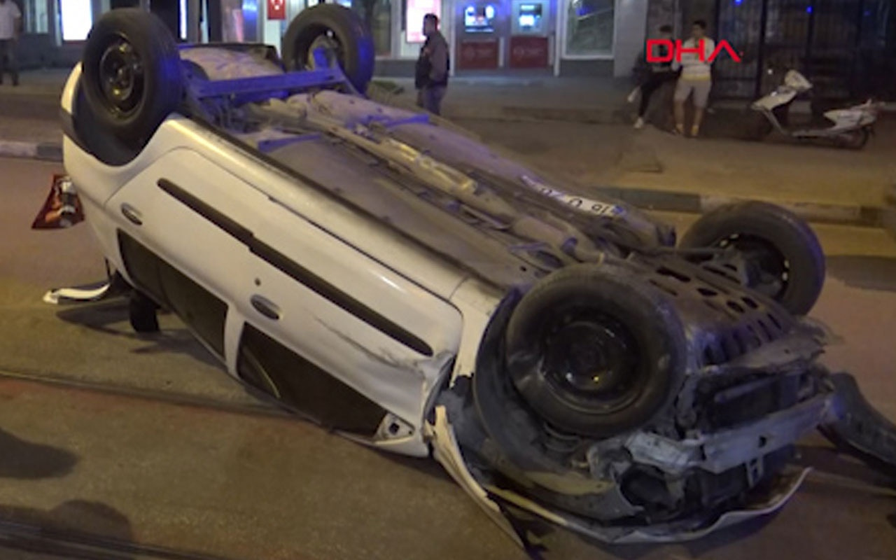 Bursa'da hız yapan otomobil takla attı: 1 yaralı
