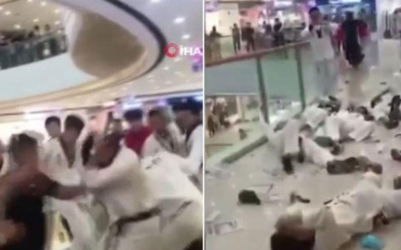 AVM'de akılalmaz kavga! Tekvandocular mağaza çalışanlarıyla birbirine girdi!