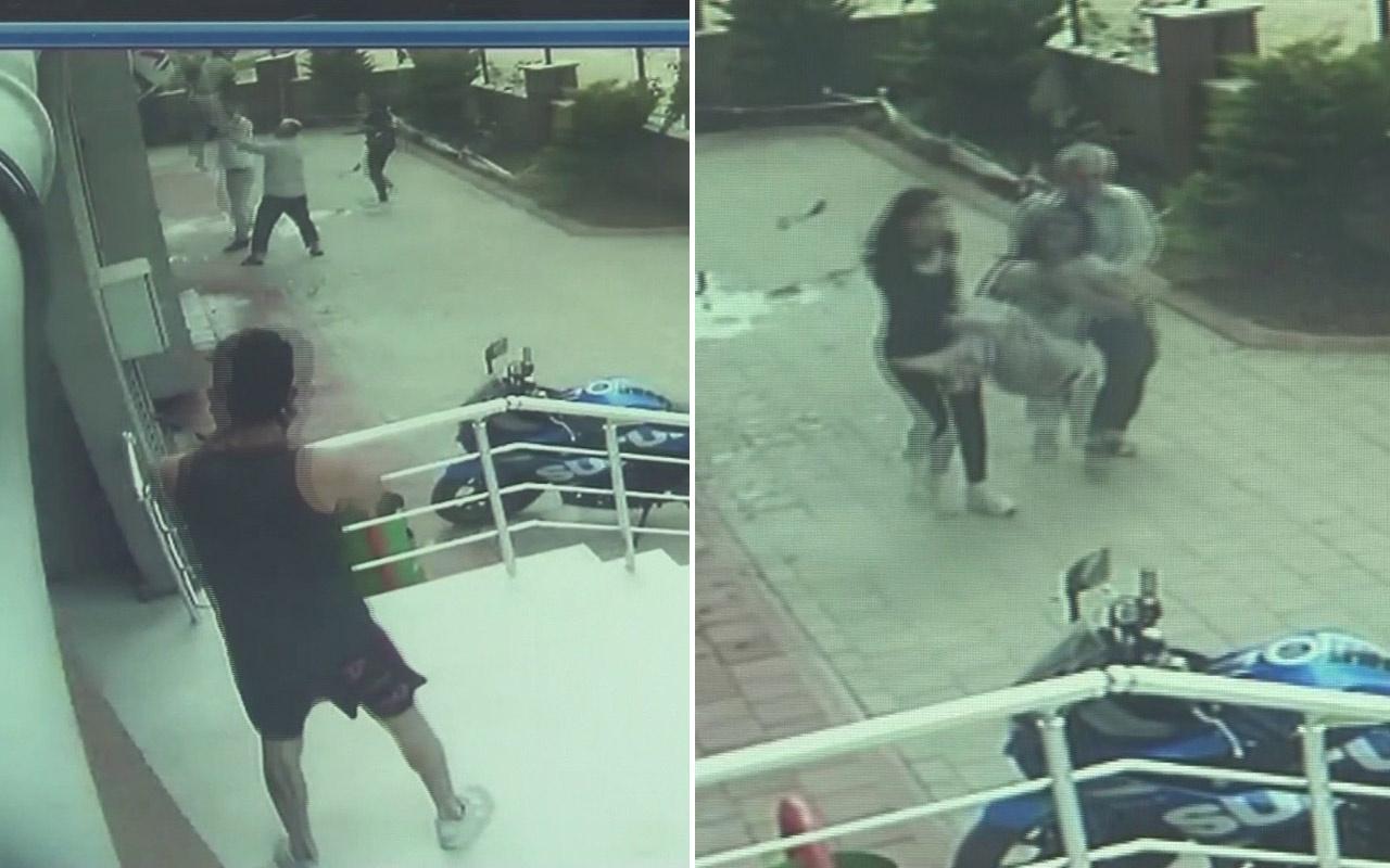 Yangında balkondan atlayan genç kızı böyle havada yakaladı