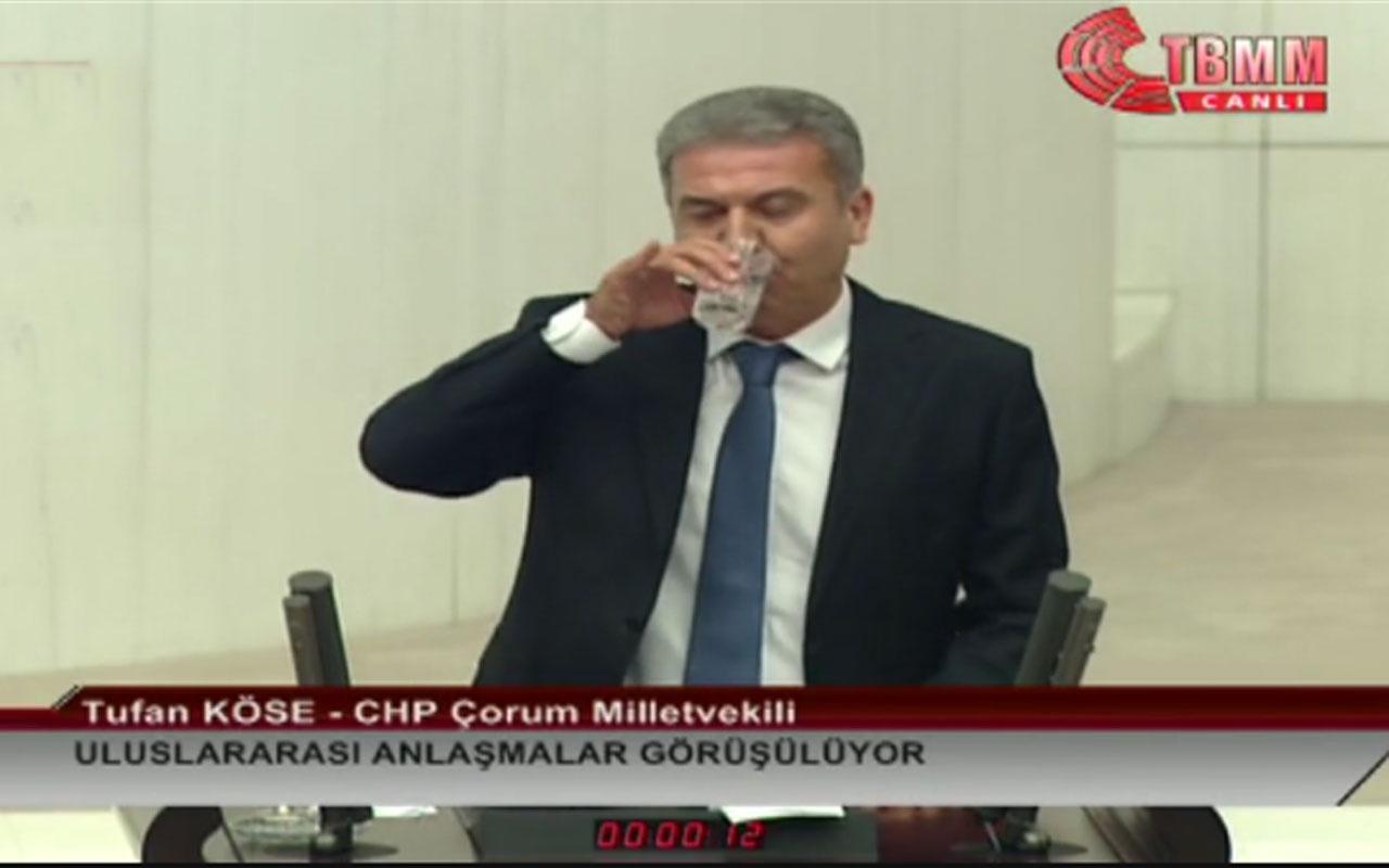 CHP Çorum Milletvekili Tufan Köse TBMM kürsüsünde su içti ortalık birbirine girdi