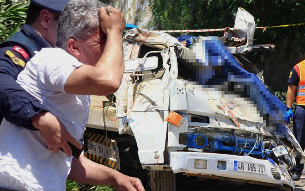 Muğla'da çekici uçuruma yuvarlandı 2 ölü 1 yaralı
