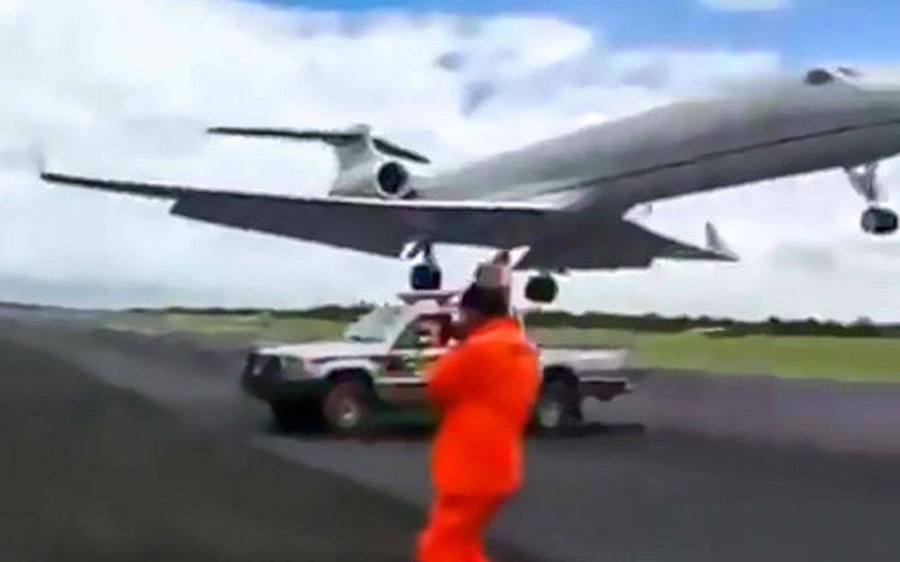 Uçak pistinde çalışan işçilerin korku dolu anları