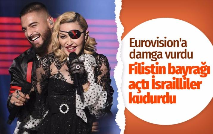 Madonna İsrail'deki Eurovision'a Filistin bayrağıyla damga vurdu