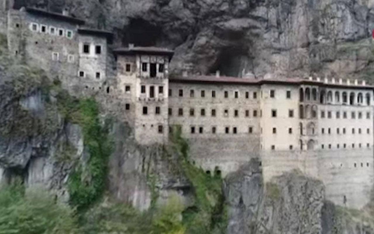 Trabzon'da açılışa hazırlanan Sümela Manastırı'ndaki çalışmalar görüntülendi