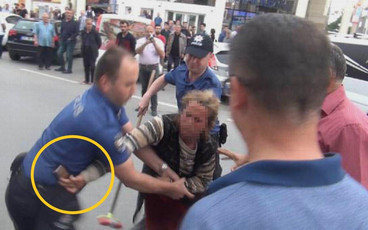 Sakarya'da dilenci kadın polisin tabancasını almaya kalkıştı