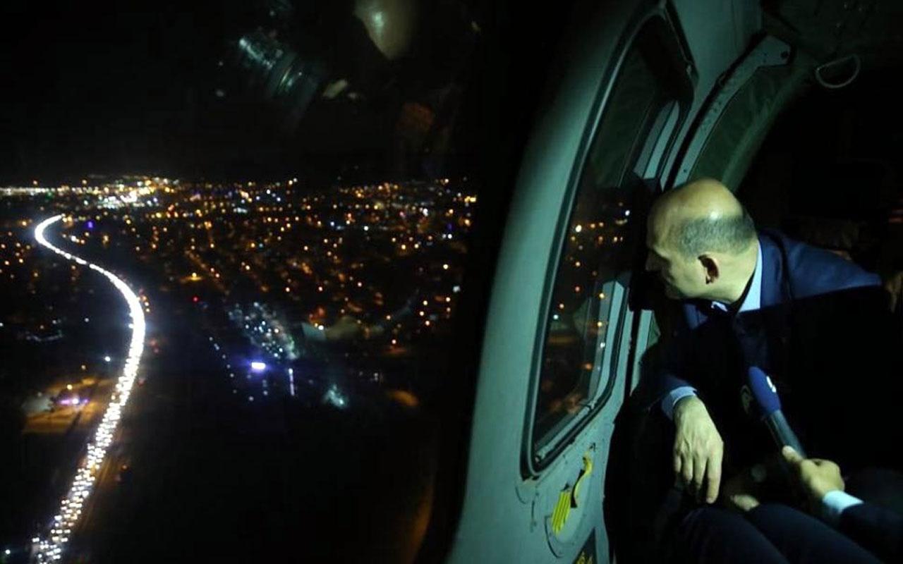 Bakan Süleyman Soylu Bolu'da trafiği hem havadan hem karadan denetledi