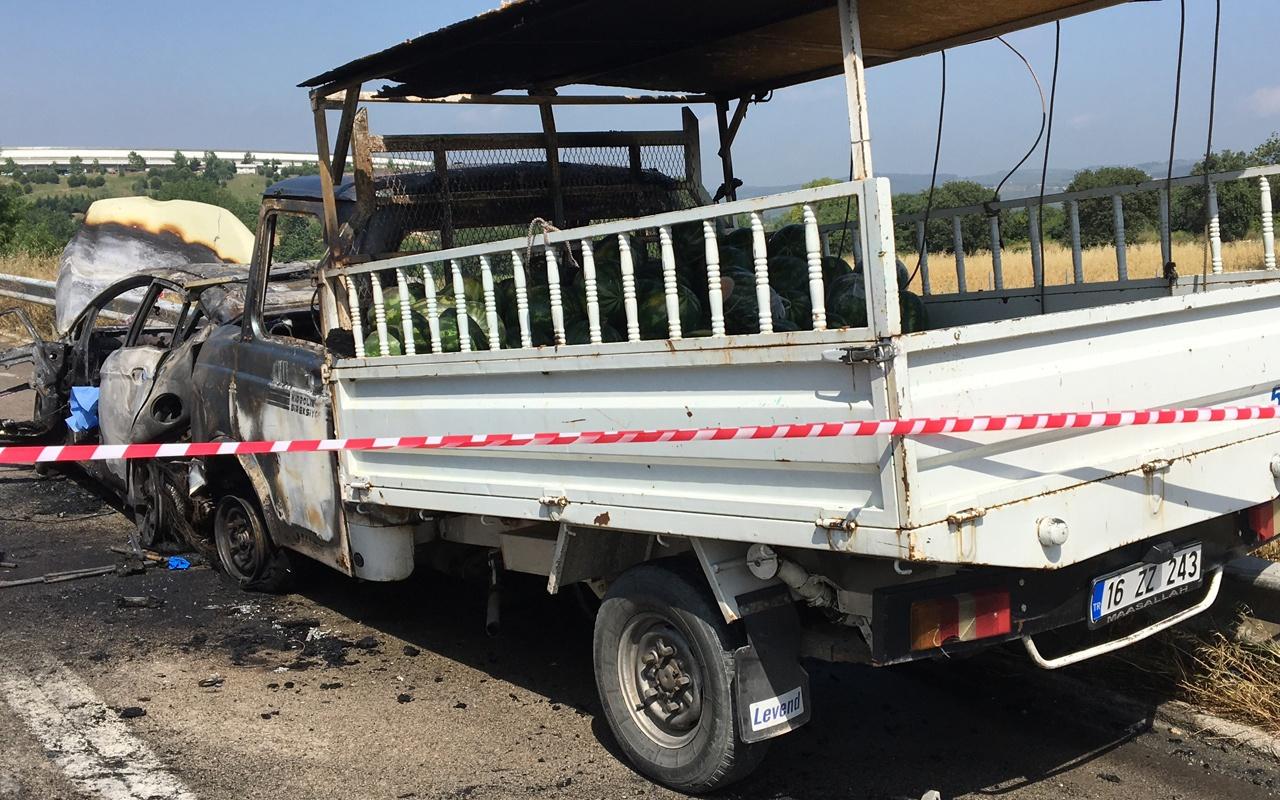 Bursa'da korkunç kaza sürücü diri diri yandı
