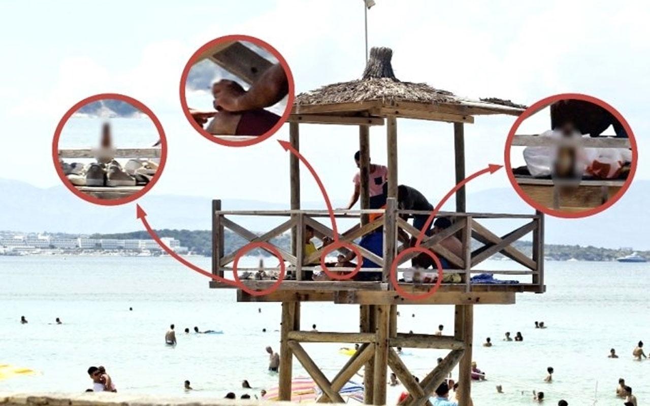 Tatil cennetindeki can kurtaran kulesinde skandal görüntü!