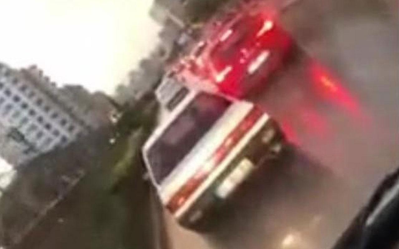 Adana'da vicdansız sürücü ambulansa ısrarla yol vermedi