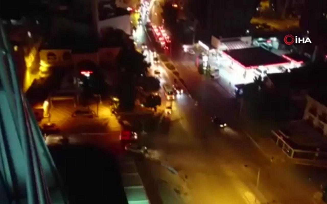 Asker uğurlama konvoyunda yolu kapatıp drift yapan magandalar kamerada