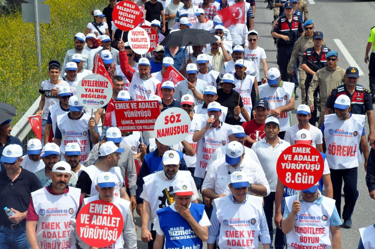 Tanju Özcan'ı protesto amacıyla Bolu'dan yürümeye başlayan işçiler Ankara'ya ulaştı