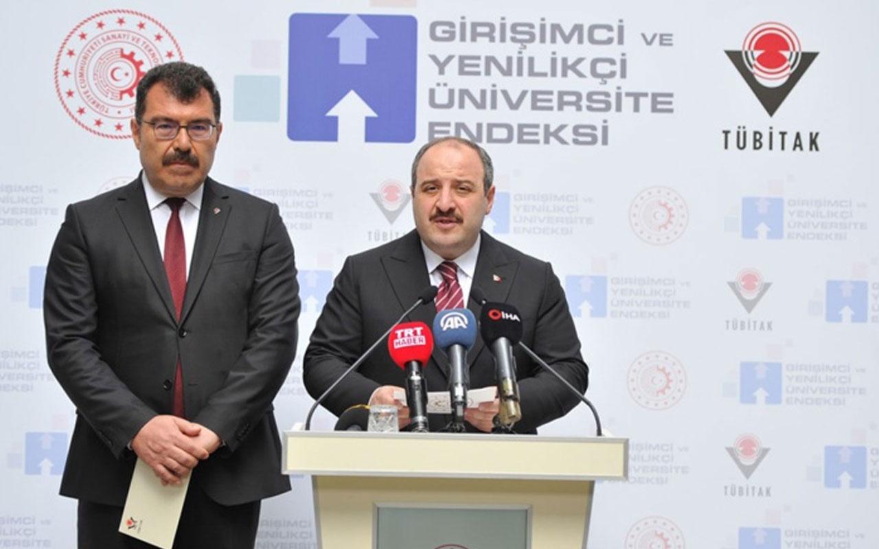 Bakan Mustafa Varank 'Girişimci ve Yenilikçi Üniversite Endeksi'ni açıkladı