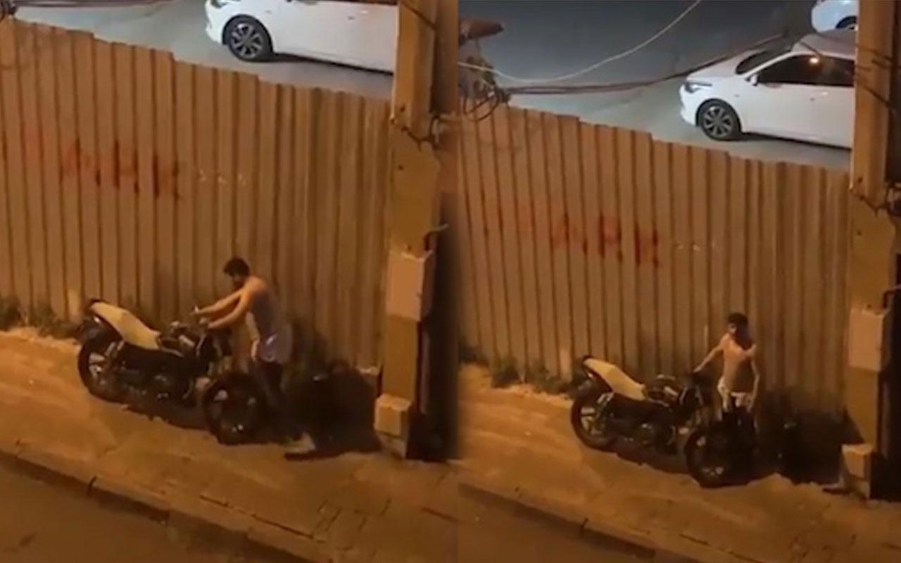 Hırsız motorsikleti çalarken yakalandı yüzsüzlüğü inanılmaz