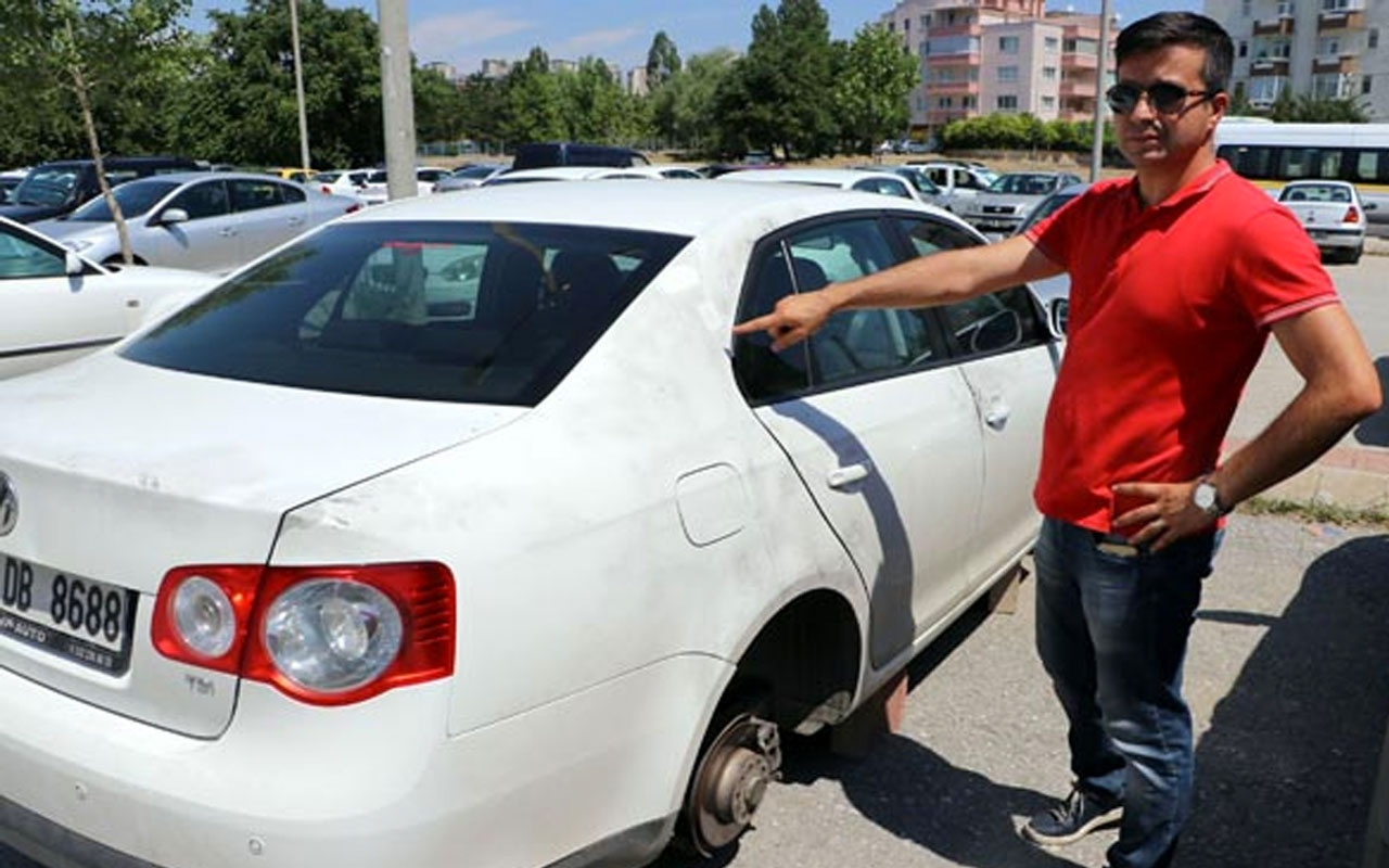 Ankara'da park halindeki otomobilin 4 lastiği çalındı