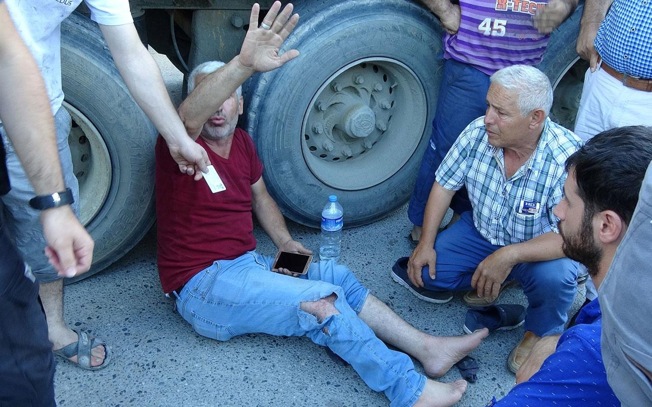 Kamyonunun altını kontrol eden şoför bir anda dehşeti yaşadı