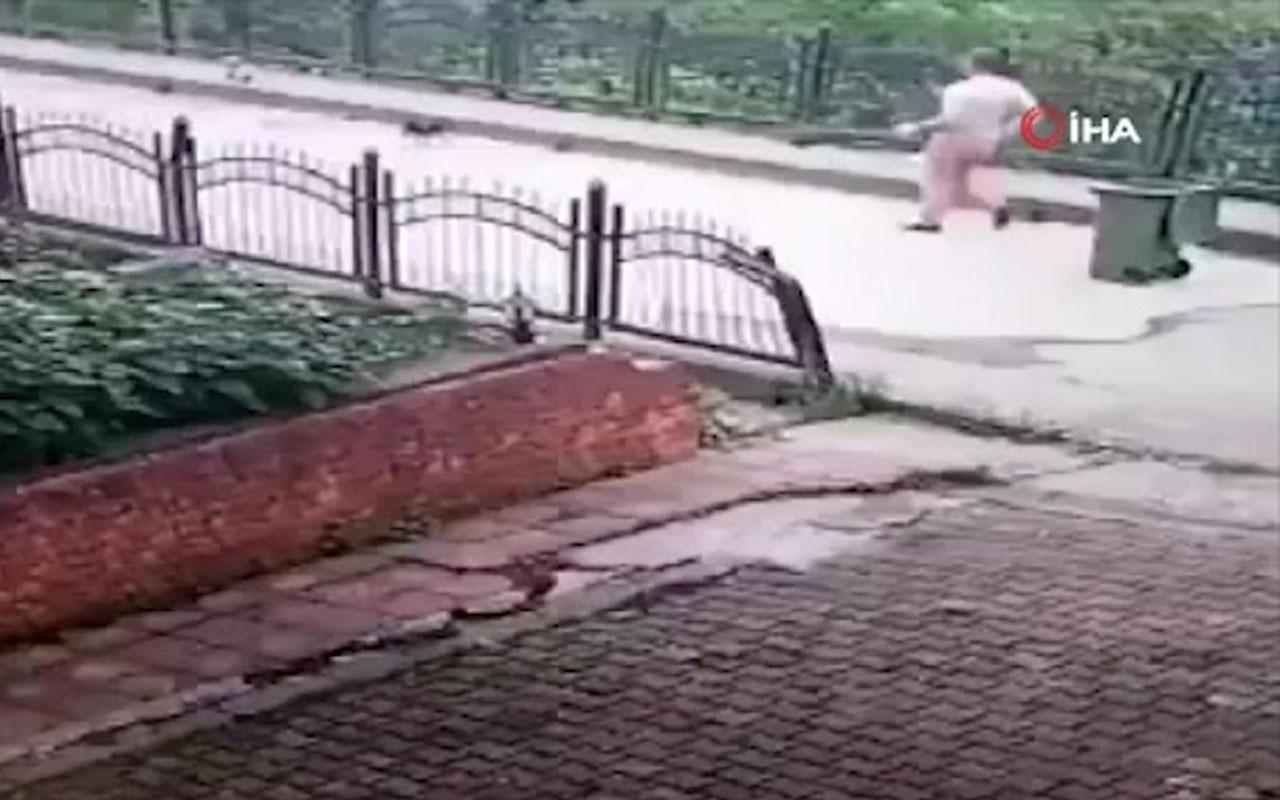 Rize'de temizlik işçisinden kan donduran hareket kamerada