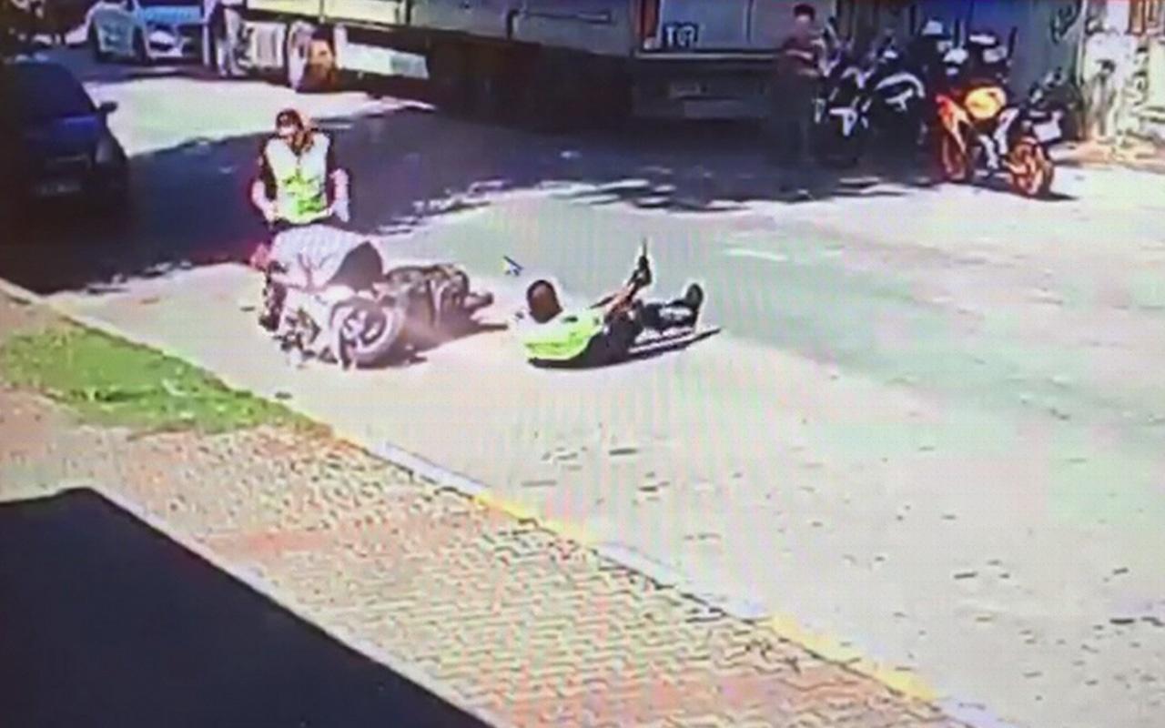 Bursa'da motosiklet sürücüsü polise çarptı