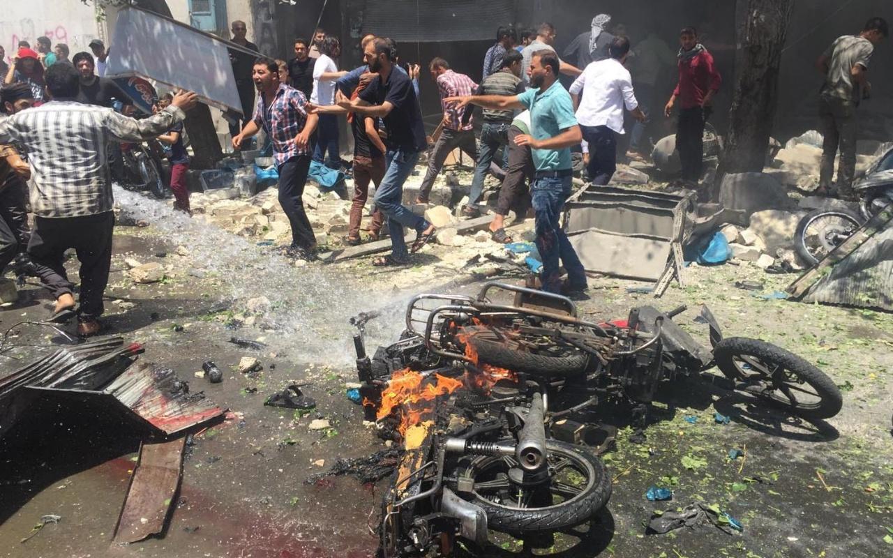 Suriye'de Fırat Kalkanı ile terörden arındırılan Bab'da eş zamanlı patlamalar