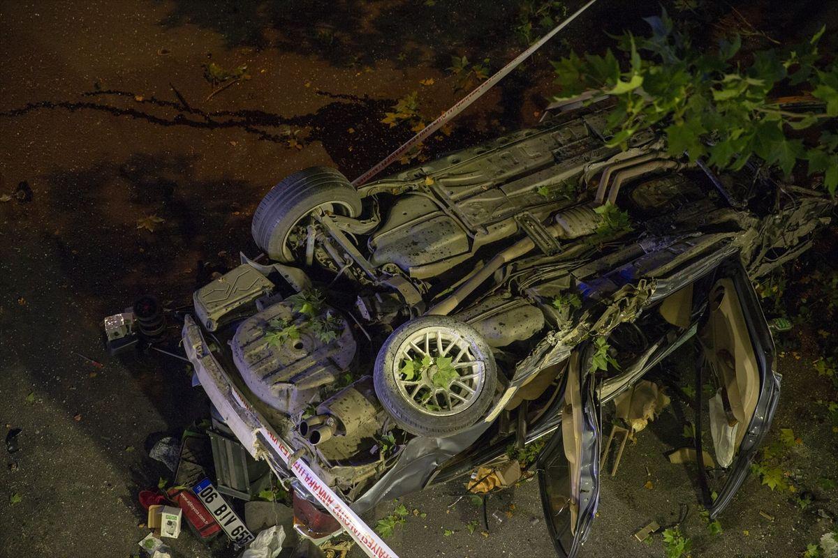Başkentte korkunç kaza otomobil köprüden düştü parçaları ağaçta asılı kaldı - Sayfa 8